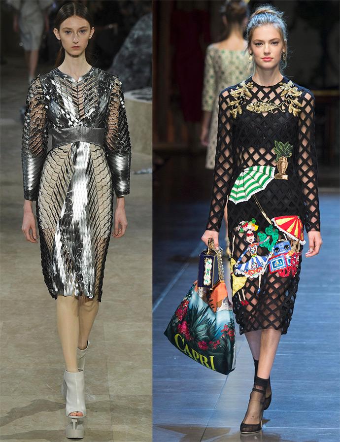 Платье из цветной сетки