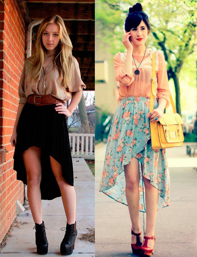 Короткие юбки со шлейфом
