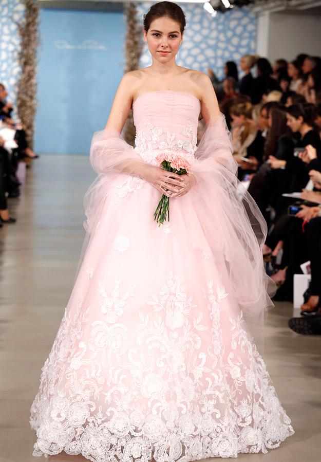 Свадебные платья розового цвета фото
