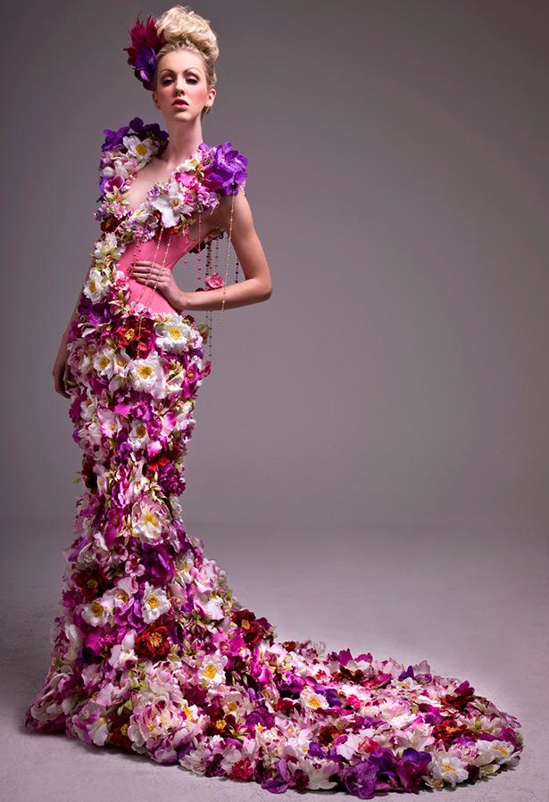 Свадебные цветочки платье