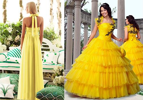 Изумительно красивые свадебные платья желтого цвета