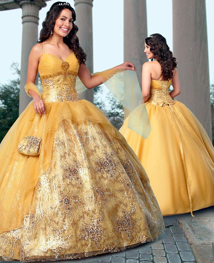 Красивое желтое свадебное платье
