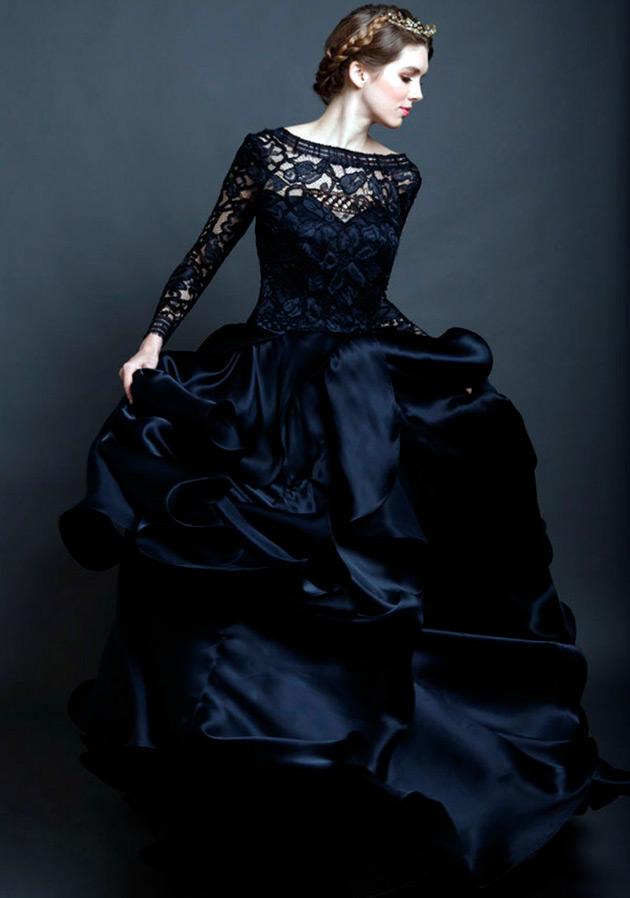 Платье черное свадебное кружево