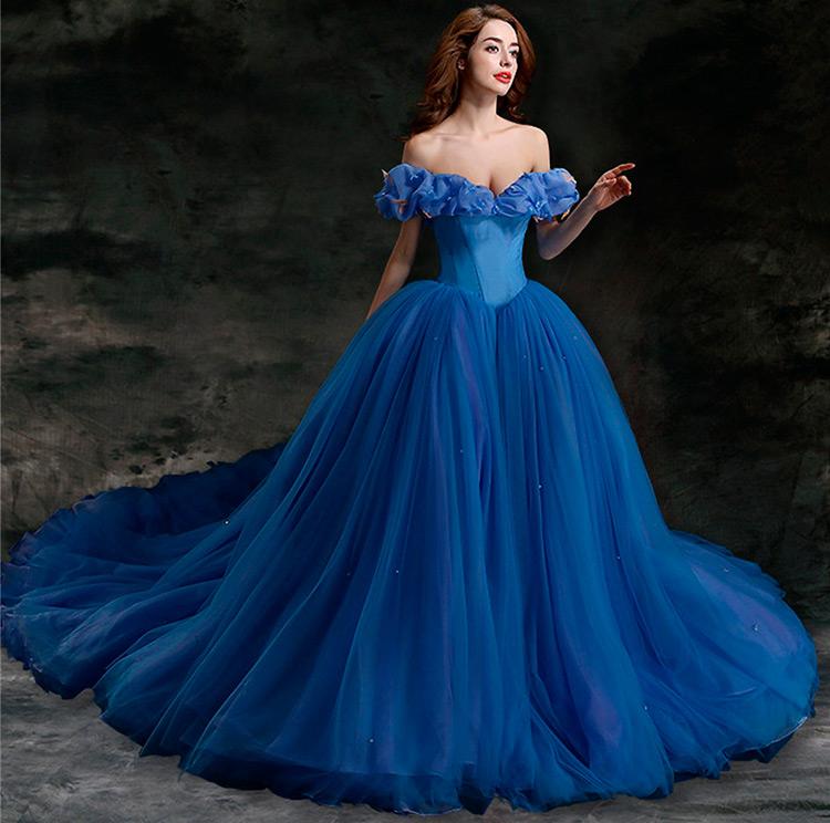 Красивые голубые свадебные платья