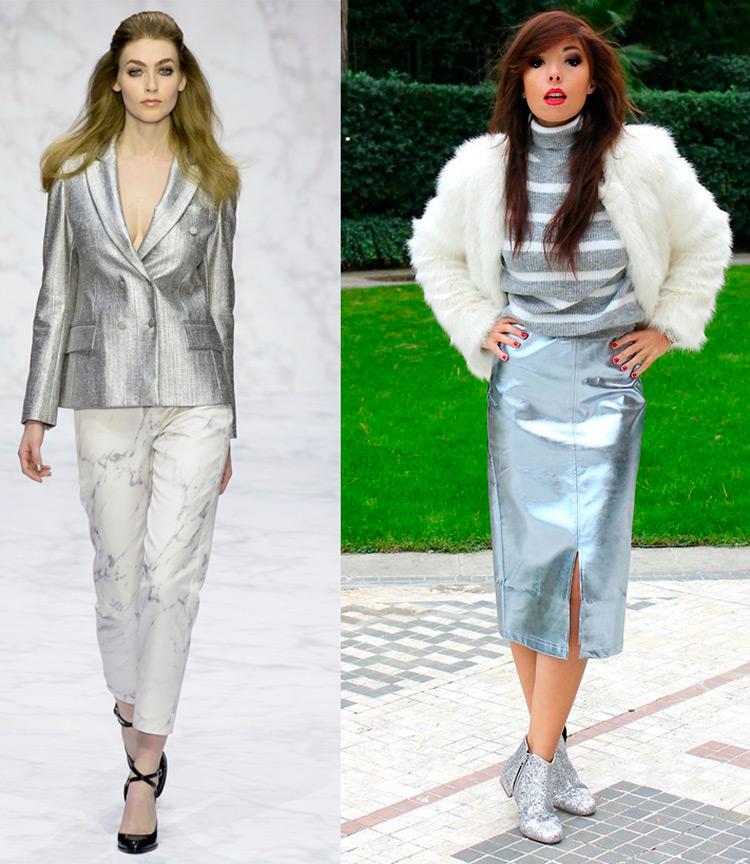 Блестящий пиджак и юбка