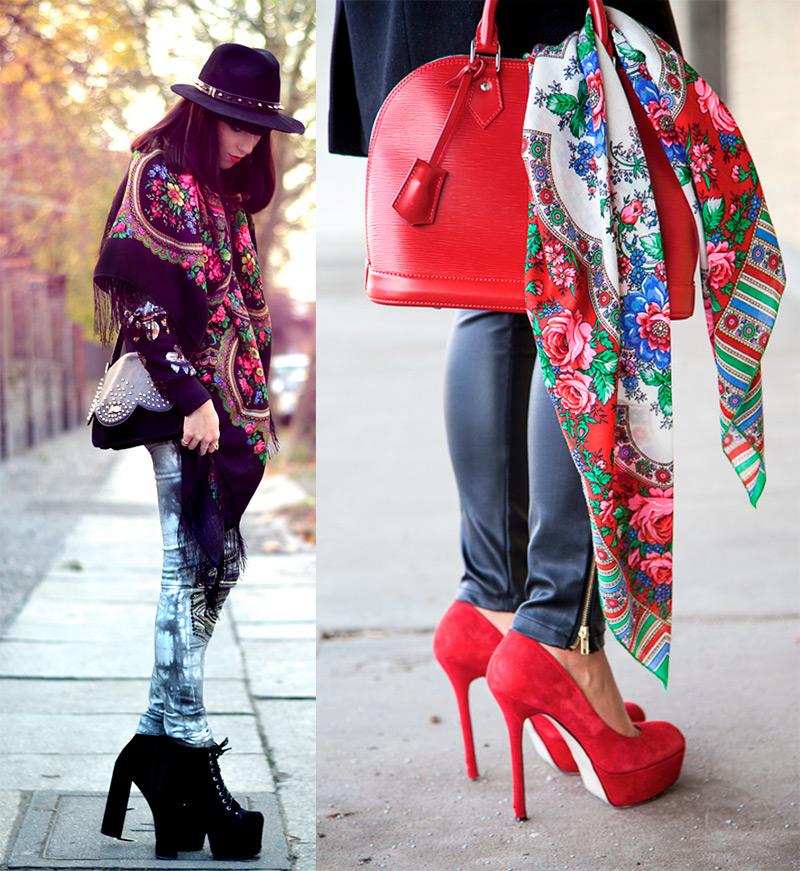 Как красиво носить павлопосадский платок