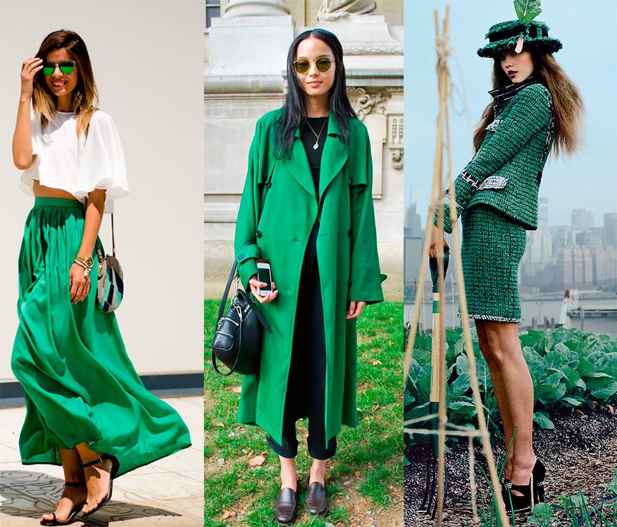 Оттенки зеленого цвета в одежде