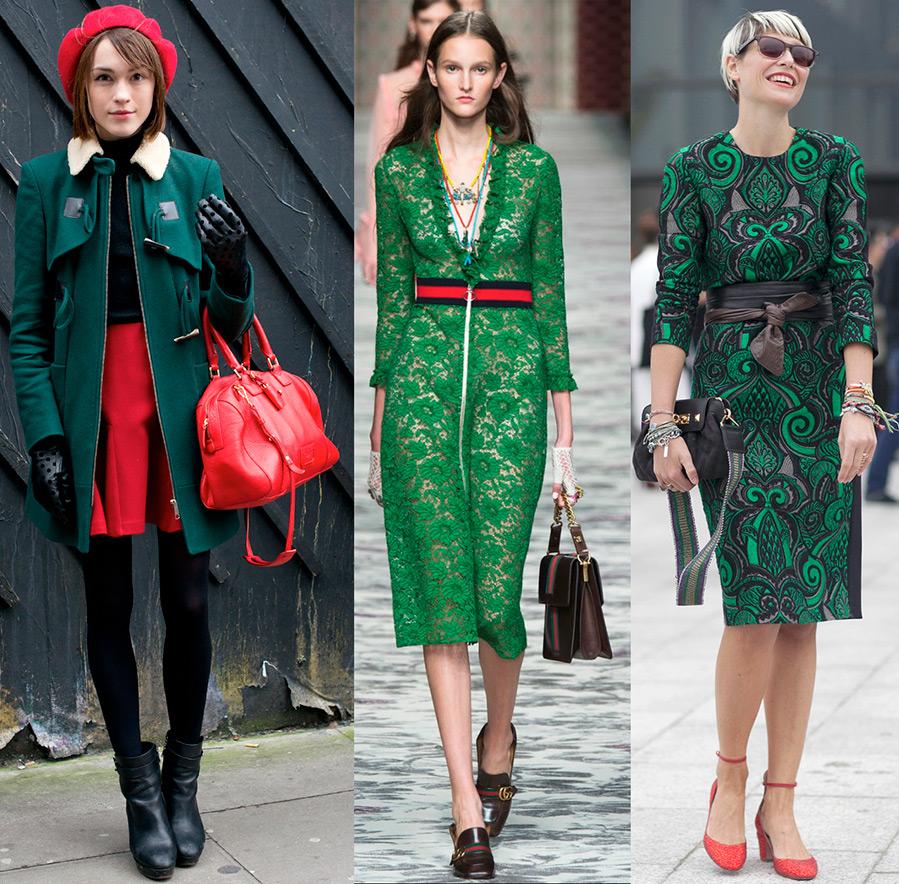 Зеленый и красный в одежде – фото образов