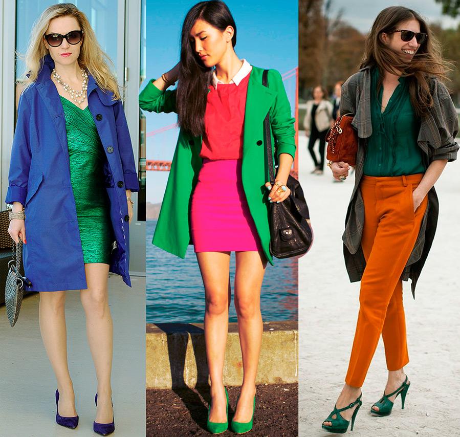 Сочетание оттенков зеленого в одежде