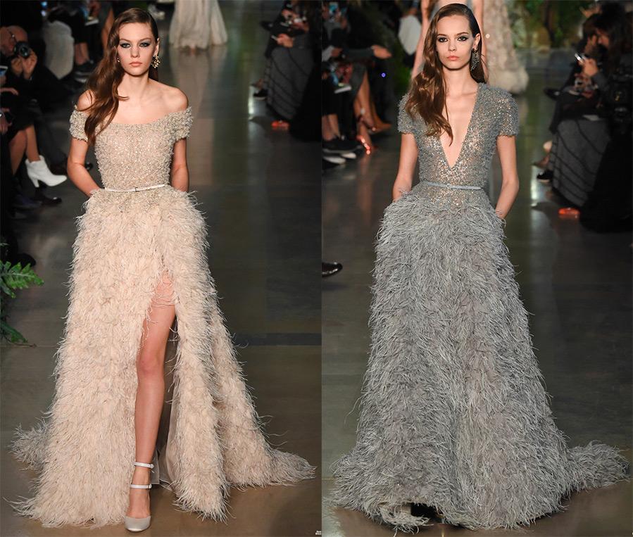 Платья и перьев страуса