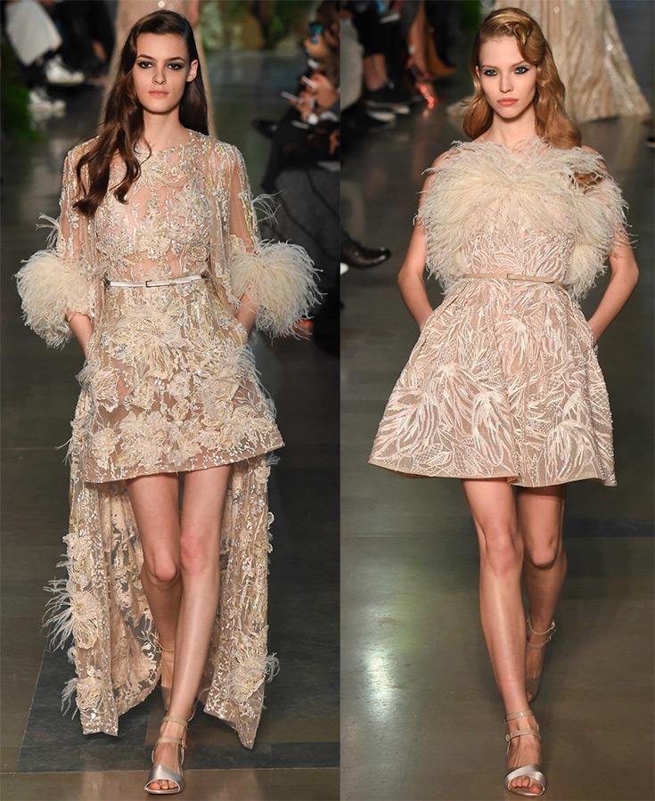 Платья с перьями страуса