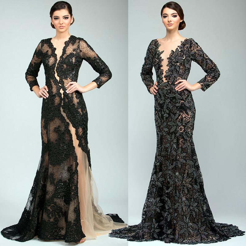 Черные платья со шлейфом