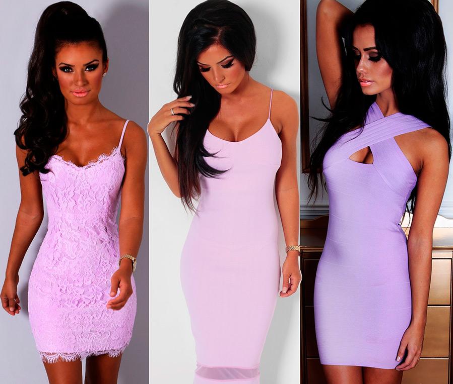 Брюнетки в лиловых платьях