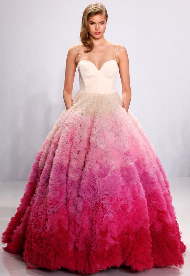 Разноцветное свадебное платье