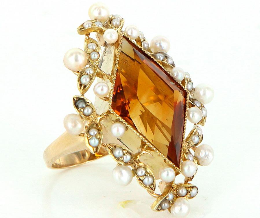 Кольцо с камнем цитрин