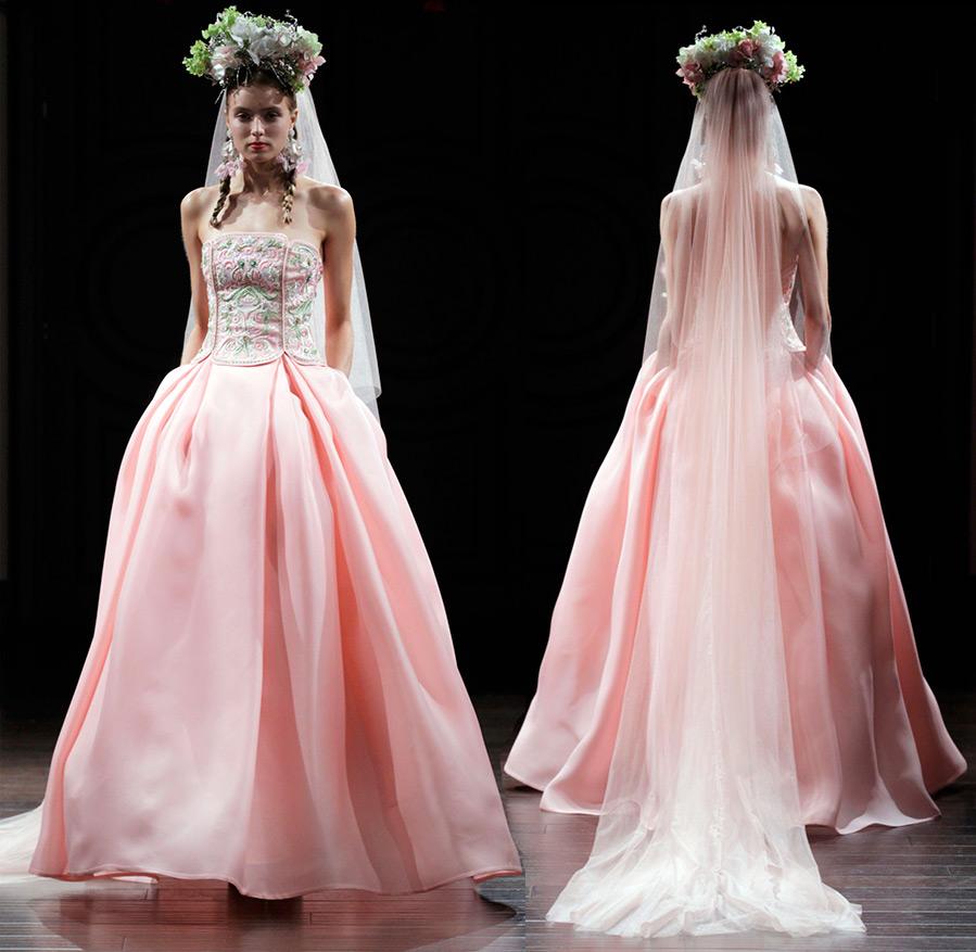 Розовое свадебное платье Naeem Khan
