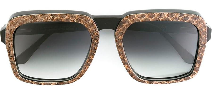 Солнцезащитные очки из натурального рога быка и кожи питона