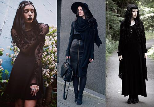Мрачные мистические образы с черным платьем и с черной юбкой