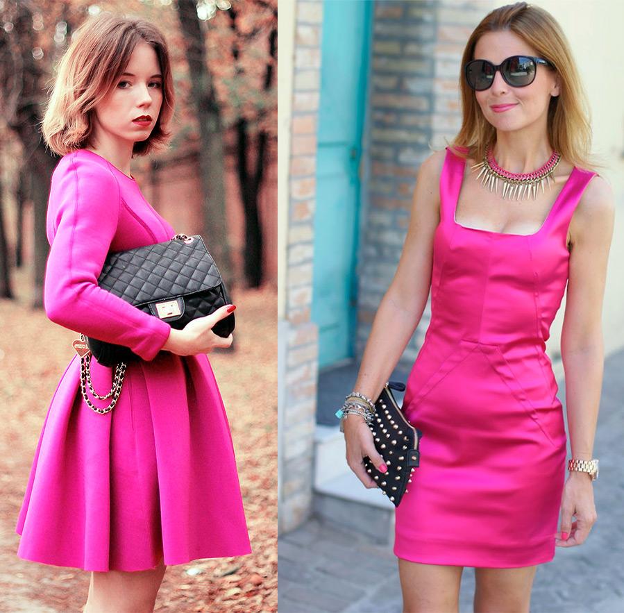 Розовая фуксия платья