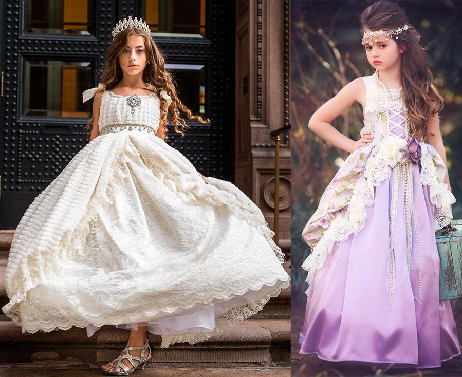 Нарядные длинные платья для девочек