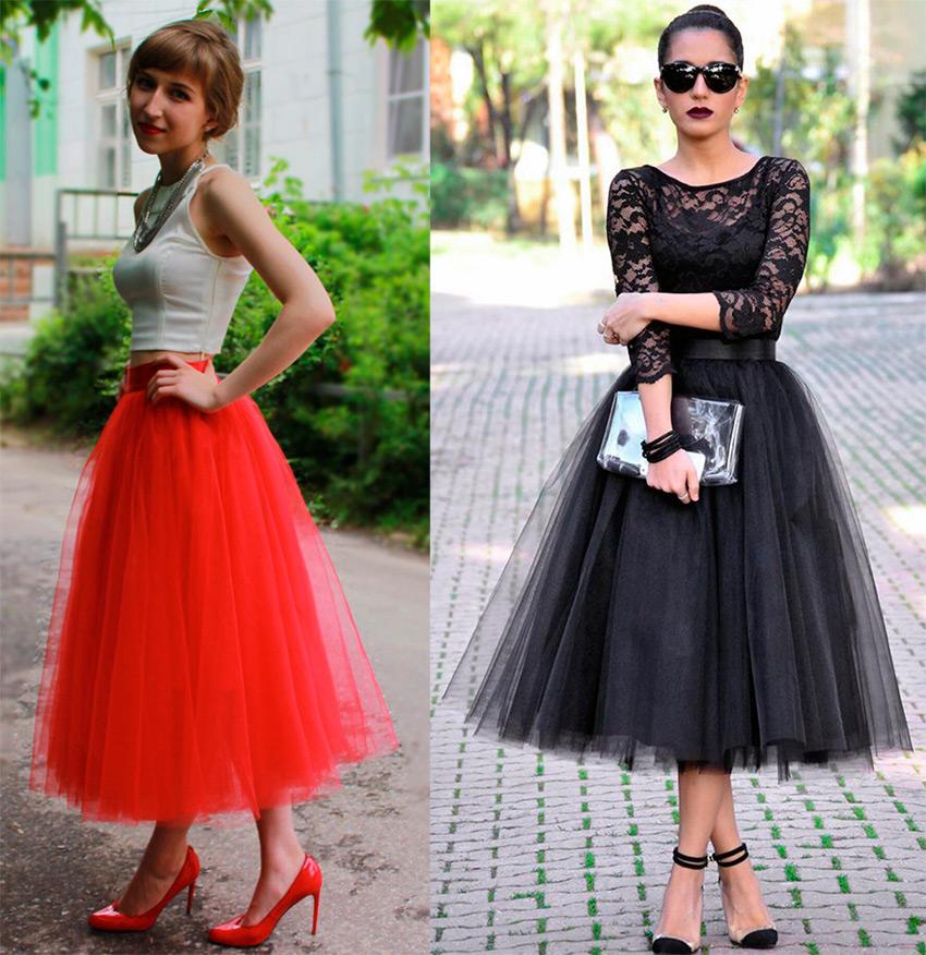 красный топ и синяя юбка