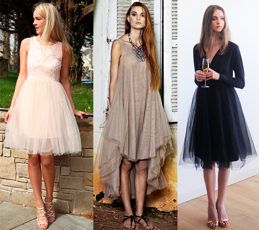 Платье с сеткой сверху юбки