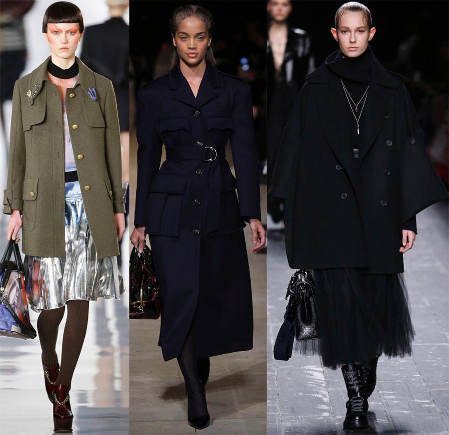 Пальто и элементы стиля милитари