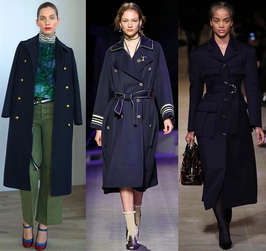 Женское пальто в стиле милитари из коллекций 2016-2017