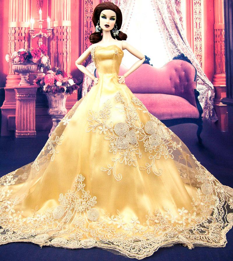 Золотое свадебное платье для куклы