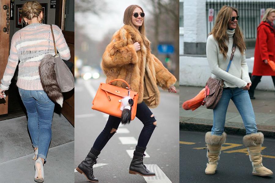 Как меховой брелок на сумку преобразит зимний образ