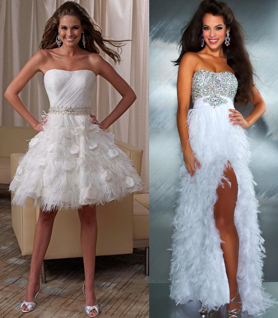 Свадебные платья украшенные перьями
