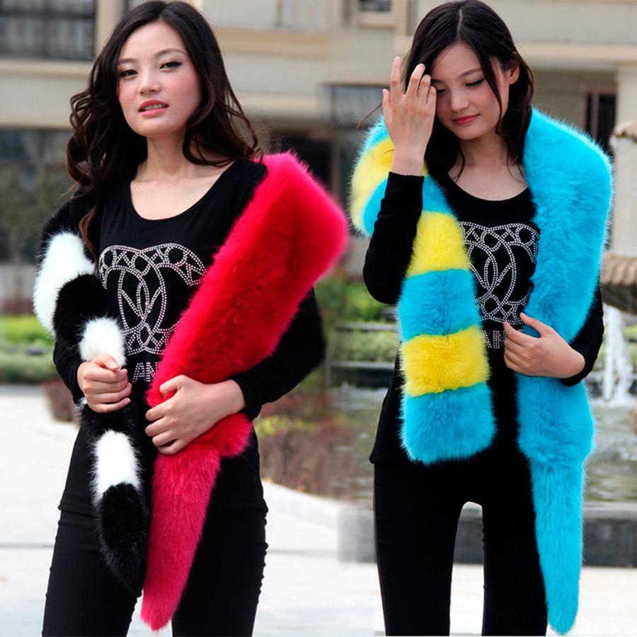 Яркие меховые шарфы