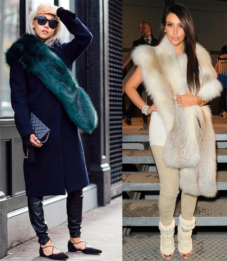 Модные образы с меховыми шарфами