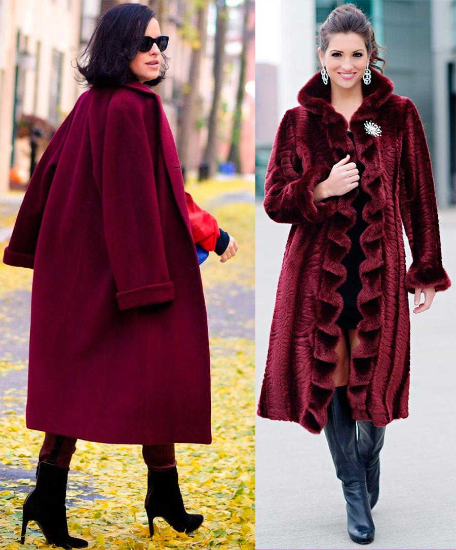 Пальто бургундских оттенков