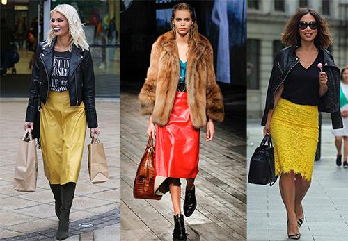 Коралловые и желтые юбки на осень и зиму