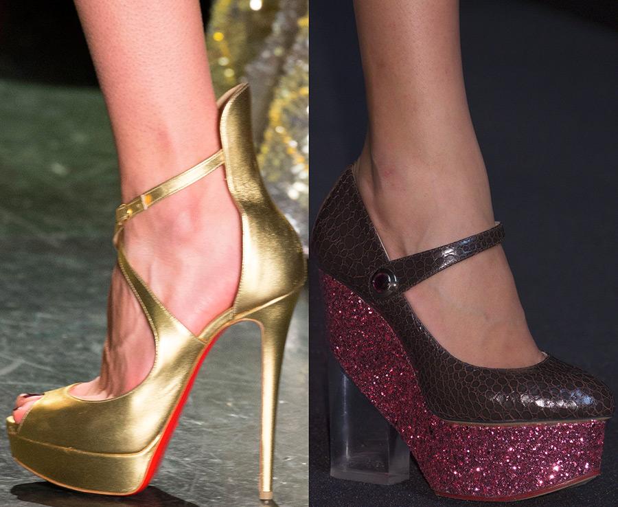 Блестящие женские туфли осень-зима