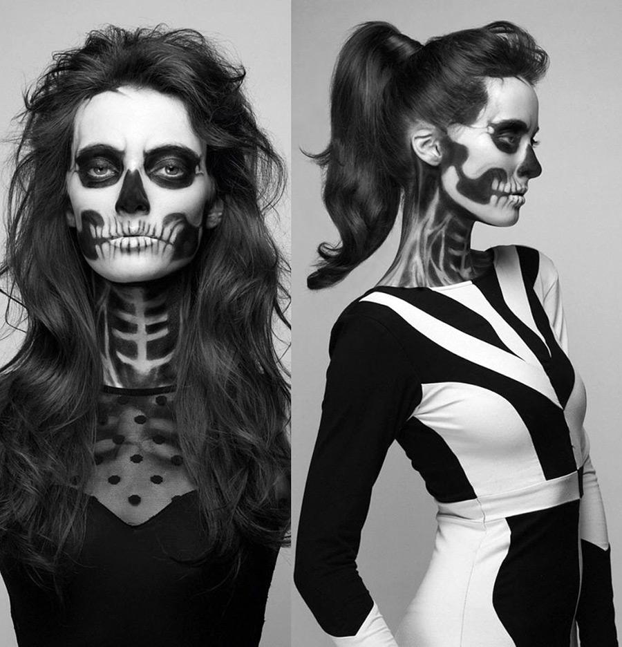 Макияж скелета на Хэллоуин