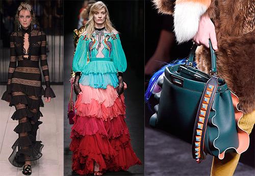 Платья и аксессуары с воланами, рюшами и оборками