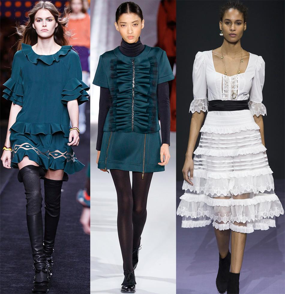Модные образы с воланами, рюшами и оборками