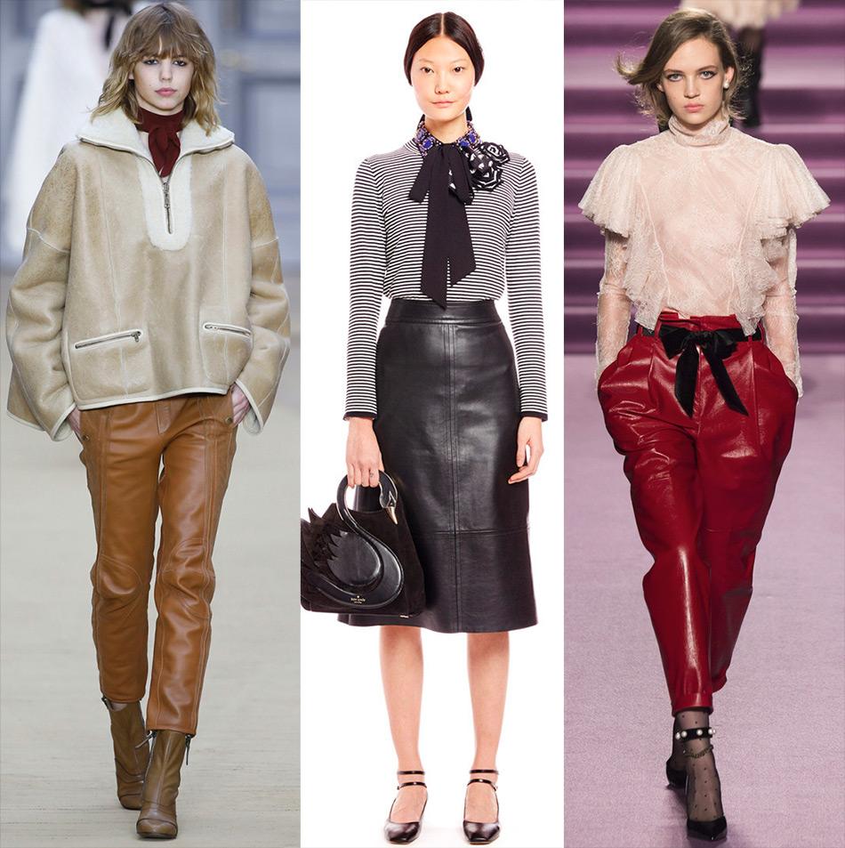 Кожаные юбки и женские брюки 2016-2017