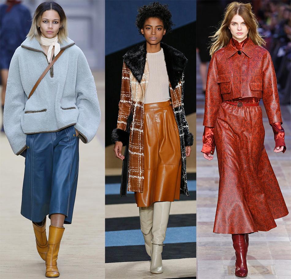 Модные кожаные юбки и женские брюки 2016-2017