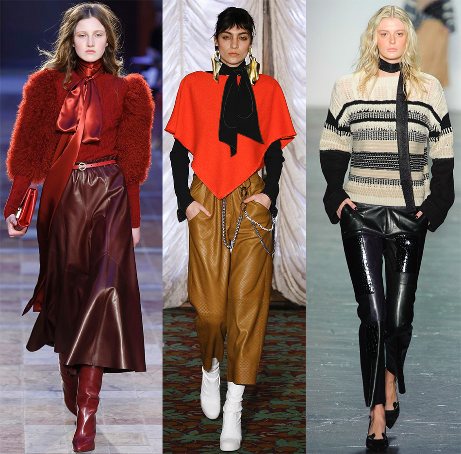 Яркие кожаные юбки и брюки