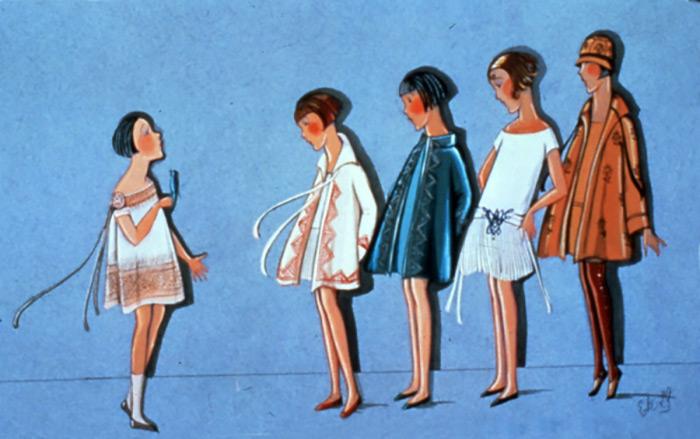 Старинные эскизы детских платьев от Lanvin