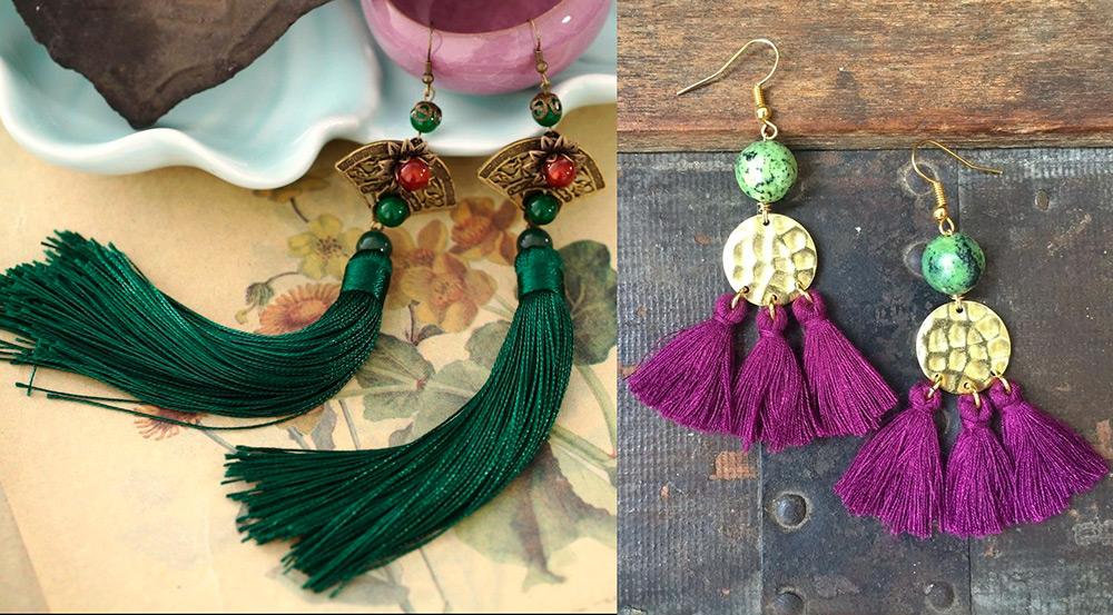 Зеленые и фиолетовые серьги кисти