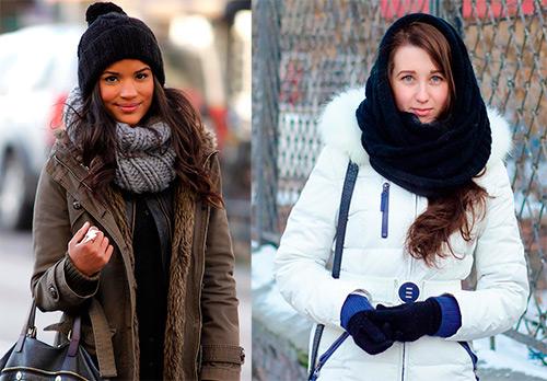 Как носить шарф-снуд – фото образов