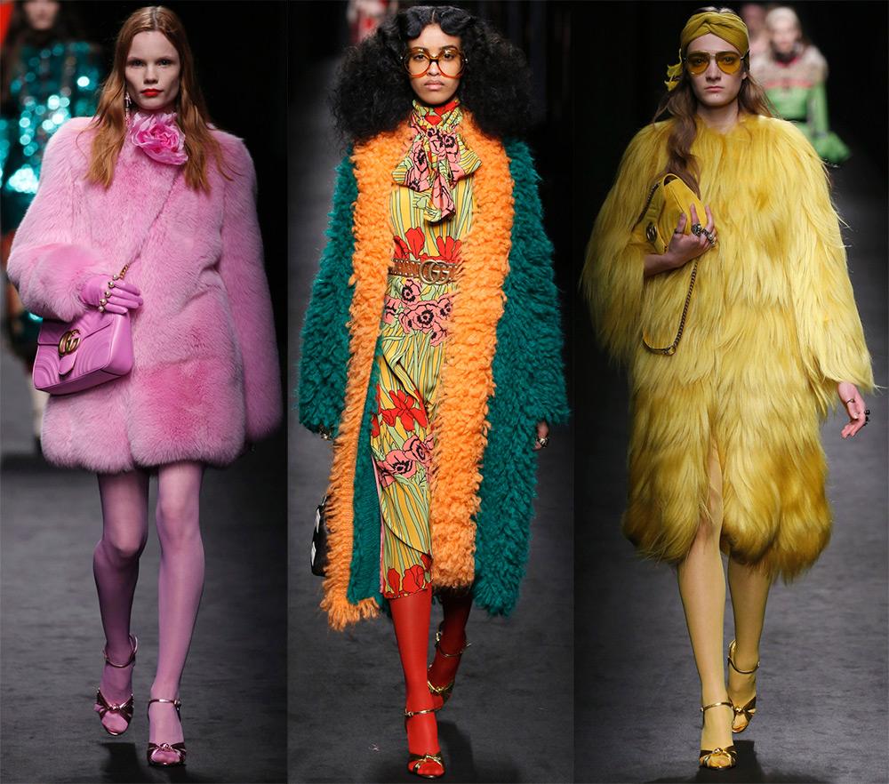 Яркие цветные шубы Gucci