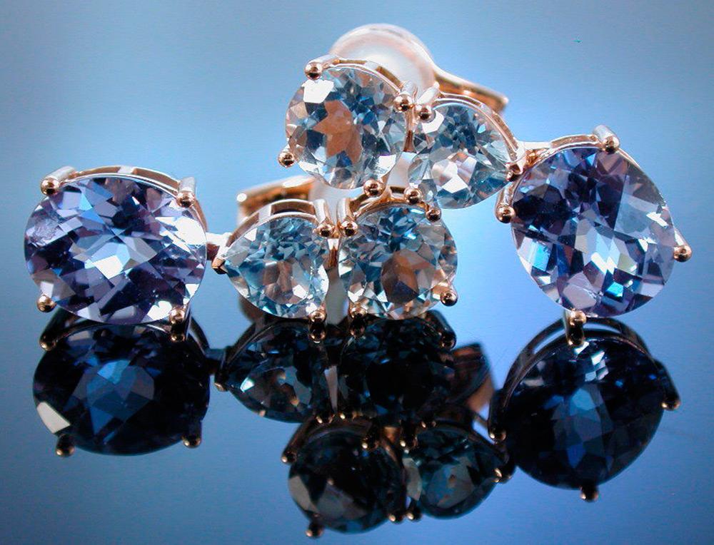 topázio azul em jóias