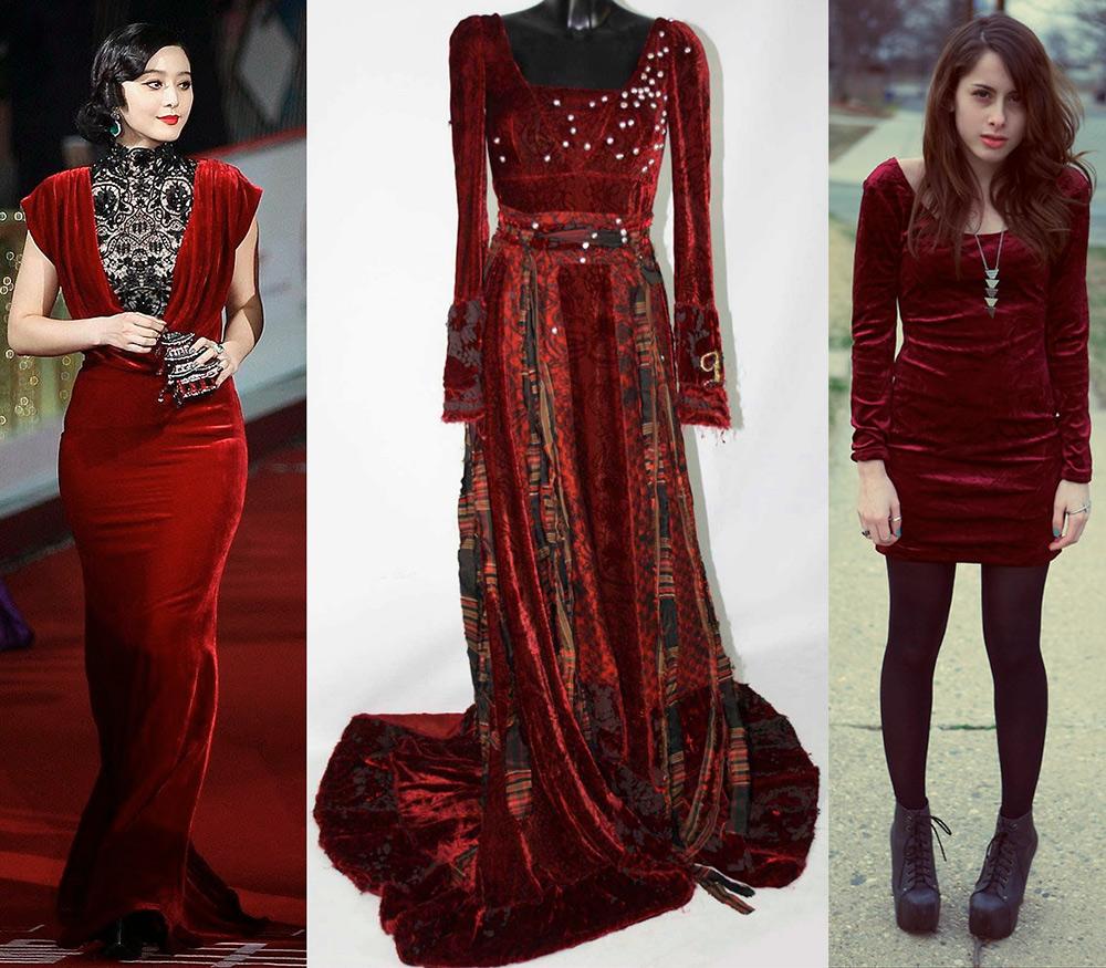 Платья из бархата стильные