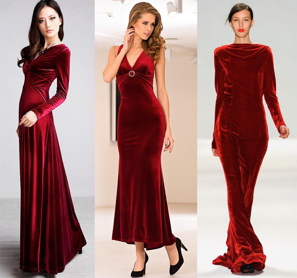 Красные и бордовые бархатные платья