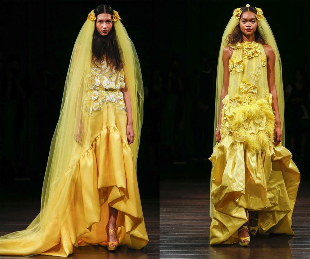 Желтые свадебные платья 2017